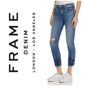FRAME denim cropped jeans le high straight